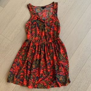 Topshop bright red paisley print dress